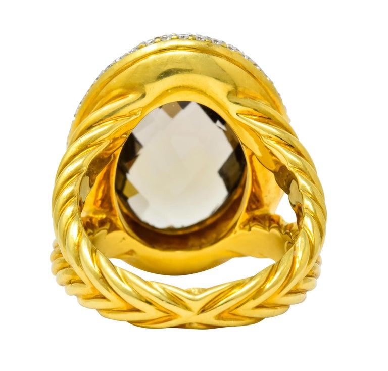 Oval Cut David Yurman Champagne Topaz Diamond 18 Karat Gold Statement Ring For Sale