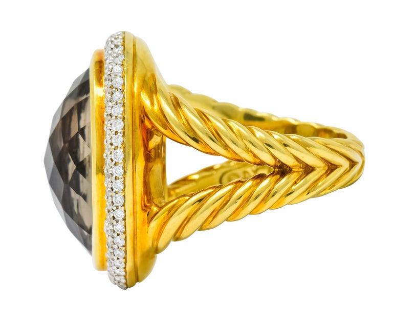 David Yurman Champagne Topaz Diamond 18 Karat Gold Statement Ring In Excellent Condition For Sale In Philadelphia, PA