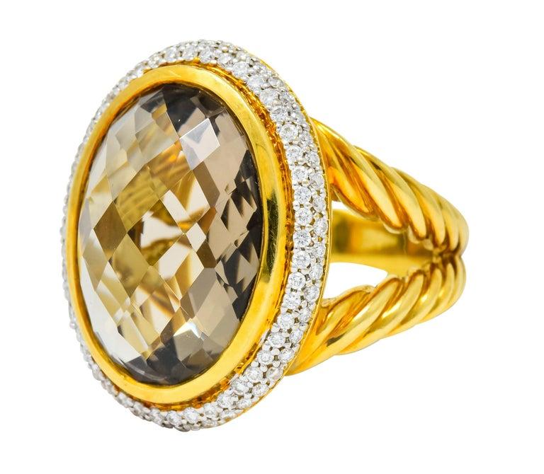 Women's or Men's David Yurman Champagne Topaz Diamond 18 Karat Gold Statement Ring For Sale
