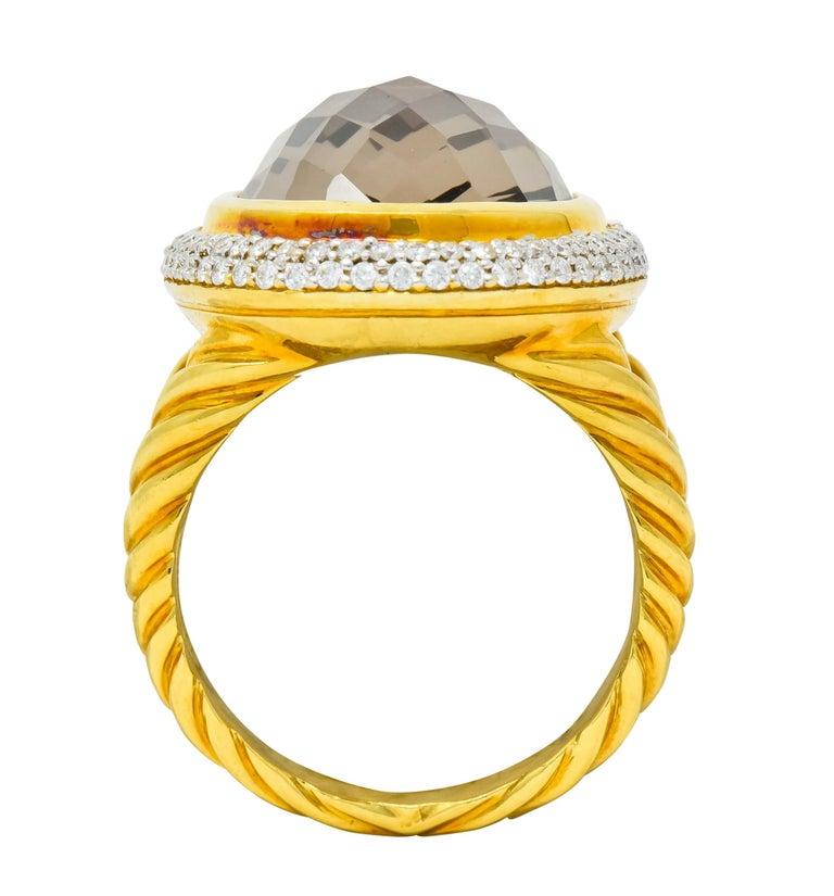 David Yurman Champagne Topaz Diamond 18 Karat Gold Statement Ring For Sale 2