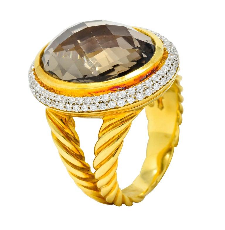 David Yurman Champagne Topaz Diamond 18 Karat Gold Statement Ring For Sale 3