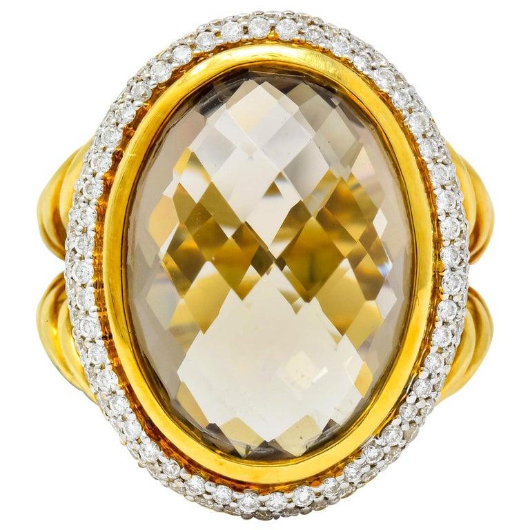 David Yurman Champagne Topaz Diamond 18 Karat Gold Statement Ring For Sale