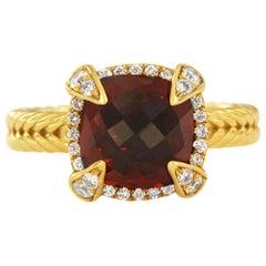 David Yurman Chatelaine Pave Bezel Ring with Garnet