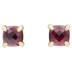 David Yurman Chatelaine Rhodolite Garnet and Diamond Stud Earrings