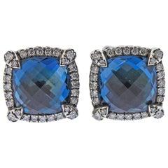 David Yurman Chatelaine Sterling Silver Diamond Blue Topaz Earrings