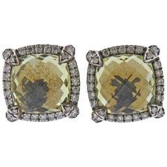David Yurman Chatelaine Sterling Silver Diamond Citrine Earrings