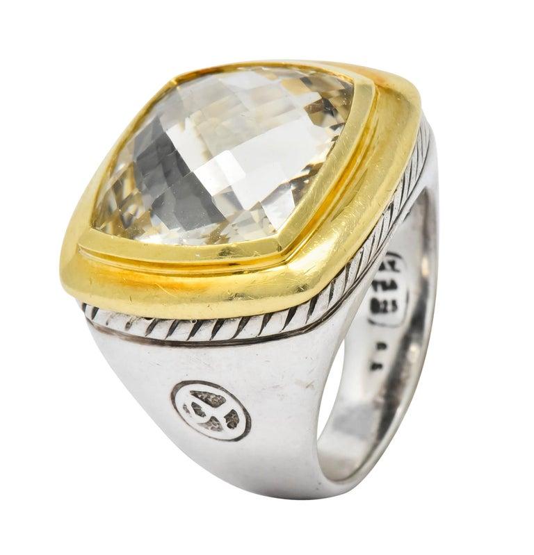 David Yurman Checkerboard Quartz 18 Karat Gold Sterling Silver Albion Ring For Sale 4