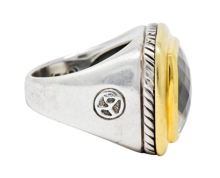 Contemporary David Yurman Checkerboard Quartz 18 Karat Gold Sterling Silver Albion Ring For Sale