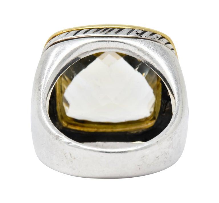 Cushion Cut David Yurman Checkerboard Quartz 18 Karat Gold Sterling Silver Albion Ring For Sale