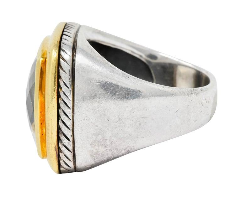 David Yurman Checkerboard Quartz 18 Karat Gold Sterling Silver Albion Ring In Excellent Condition For Sale In Philadelphia, PA