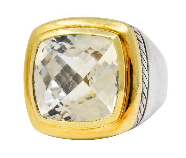 Women's or Men's David Yurman Checkerboard Quartz 18 Karat Gold Sterling Silver Albion Ring For Sale