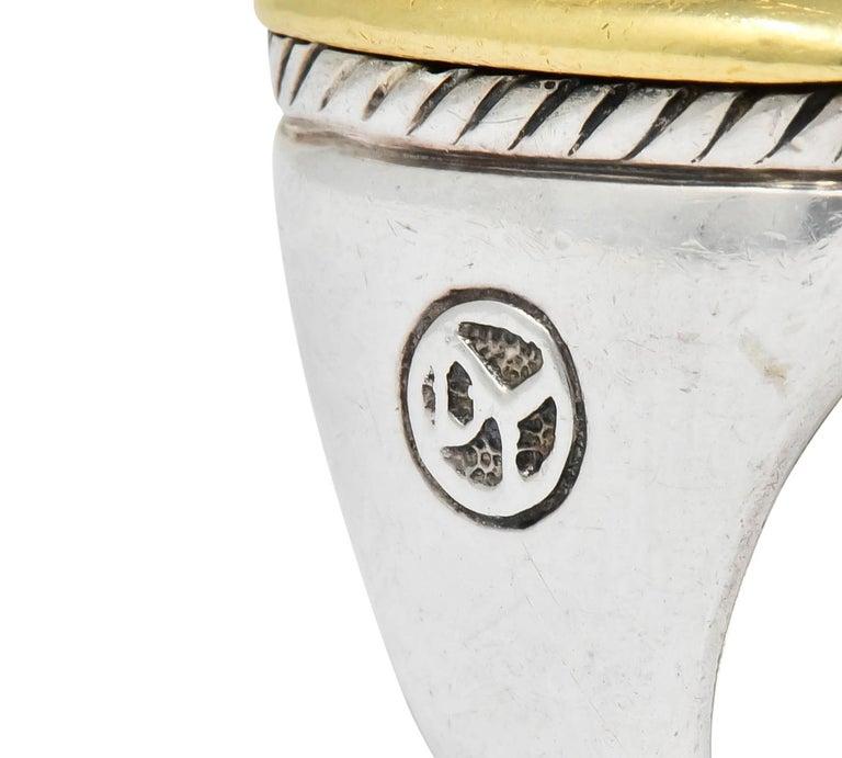 David Yurman Checkerboard Quartz 18 Karat Gold Sterling Silver Albion Ring For Sale 1