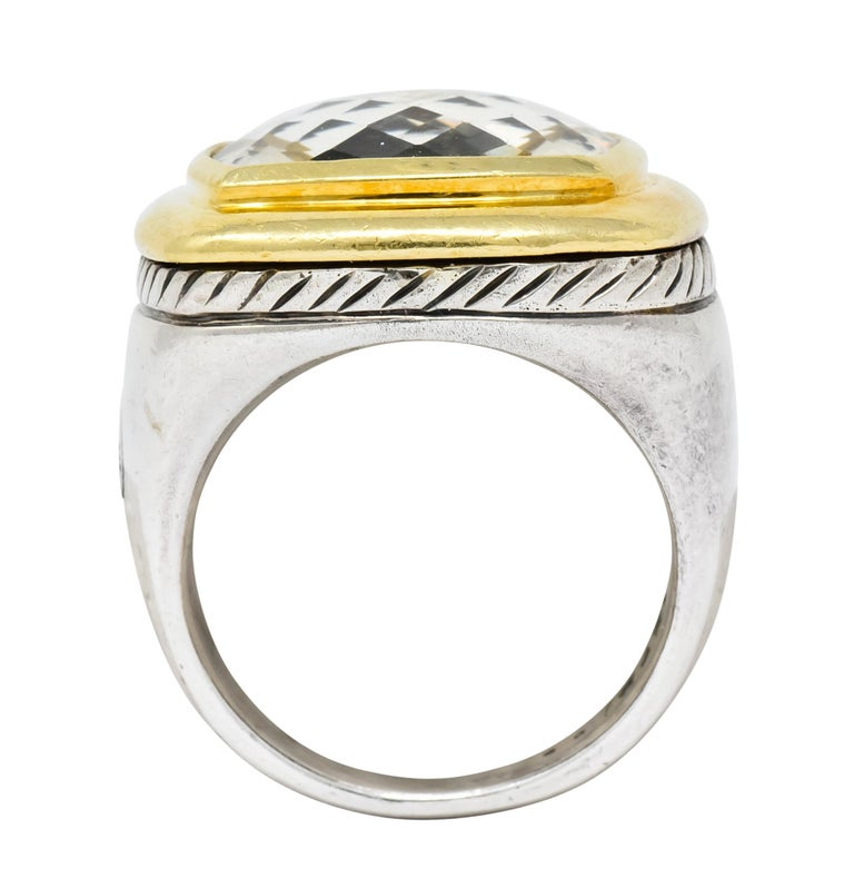 David Yurman Checkerboard Quartz 18 Karat Gold Sterling Silver Albion Ring For Sale 3