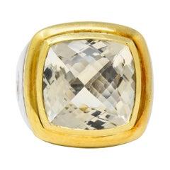 David Yurman Checkerboard Quartz 18 Karat Gold Sterling Silver Albion Ring