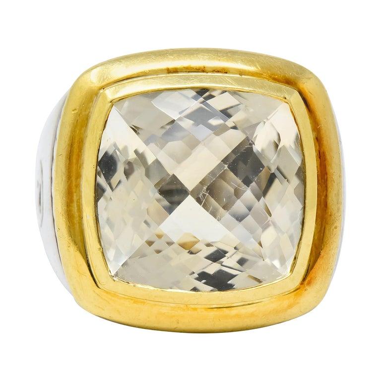 David Yurman Checkerboard Quartz 18 Karat Gold Sterling Silver Albion Ring For Sale