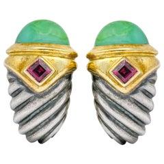David Yurman Chrysoprase Garnet 14 Karat Gold Sterling Silver Earrings