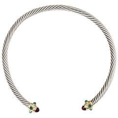 David Yurman Chrysoprase Garnet Sterling Silver Gold Necklace