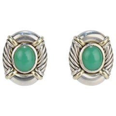 David Yurman Chrysoprase, Sterling Silver and 14 Karat Clip Earrings