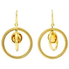 David Yurman Citrine 18 Karat Gold Mobile Drop Earrings