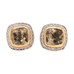 David Yurman Citrine and Diamond Earring in 18K Yellow Gold and Sterling Silver