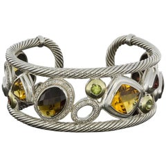 David Yurman Citrine and Diamond Mosaic Gold and Silver Cuff Bracelet