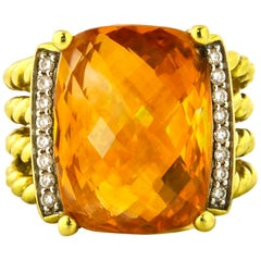 David Yurman Citrine Diamond Gold Wheaton Ring