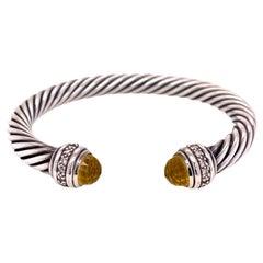 David Yurman Citrine Diamond Sterling Silver Cable Cuff Bracelet