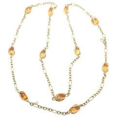 David Yurman Citrine Figaro Link Yellow Gold Chain Necklace