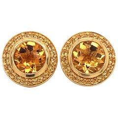 David Yurman Citrine Halo Stud Earrings, 18 Karat Yellow Gold Cable Design