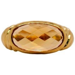 David Yurman Citrine Noblesse 18 Karat Yellow Gold Ring