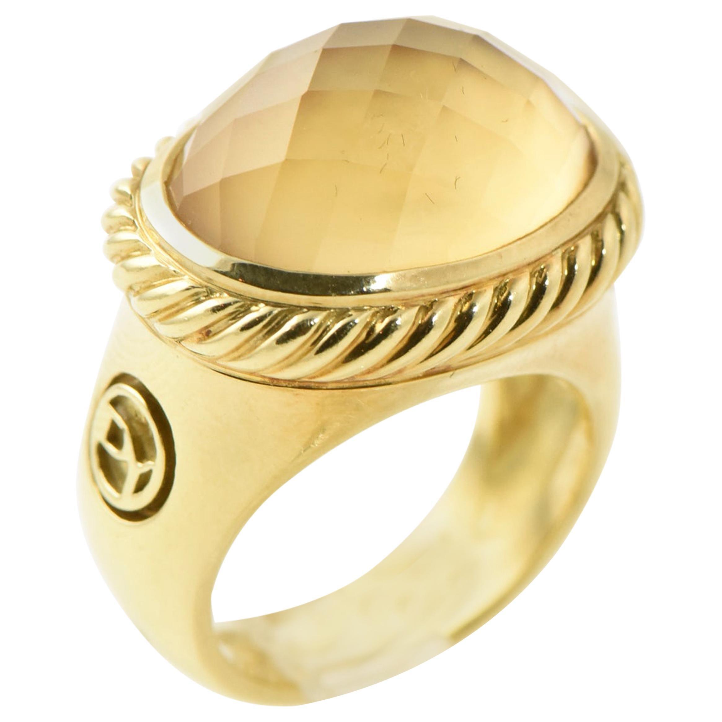 David Yurman Citrine Yellow Gold Signature Ring