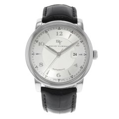 David Yurman Classic Silver Dial Date Leather Band Steel Automatic Men's Watch