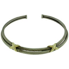David Yurman Classic, Two X, Double Cable Choker Necklace Sterling and 14k Gold