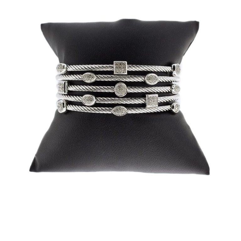 Round Cut David Yurman Confetti Sterling Silver 0.62 Carat Round Diamond Cuff Bracelets For Sale
