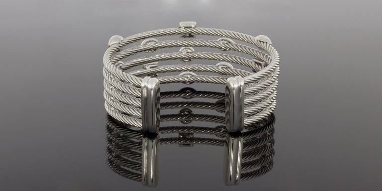 David Yurman Confetti Sterling Silver 0.62 Carat Round Diamond Cuff Bracelets In Excellent Condition For Sale In Columbia, MO