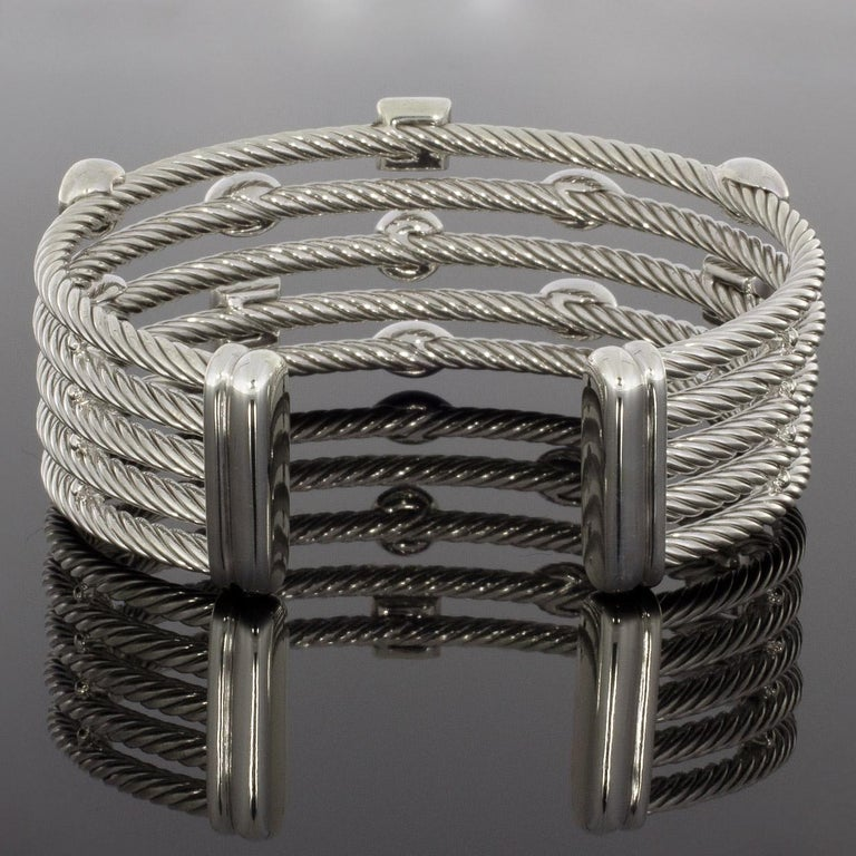Women's David Yurman Confetti Sterling Silver 0.62 Carat Round Diamond Cuff Bracelets For Sale