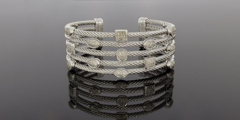 David Yurman Confetti Sterling Silver 0.62 Carat Round Diamond Cuff Bracelets For Sale 1