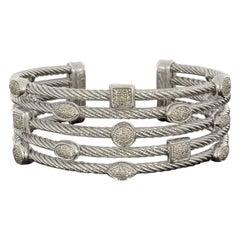 David Yurman Confetti Sterling Silver 0.62 Carat Round Diamond Cuff Bracelets