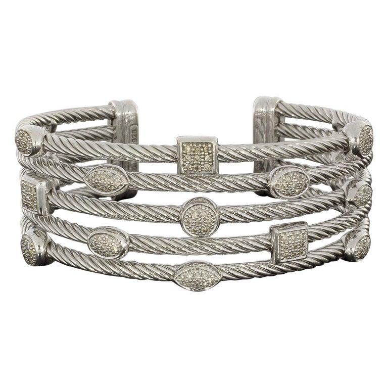 David Yurman Confetti Sterling Silver 0.62 Carat Round Diamond Cuff Bracelets For Sale