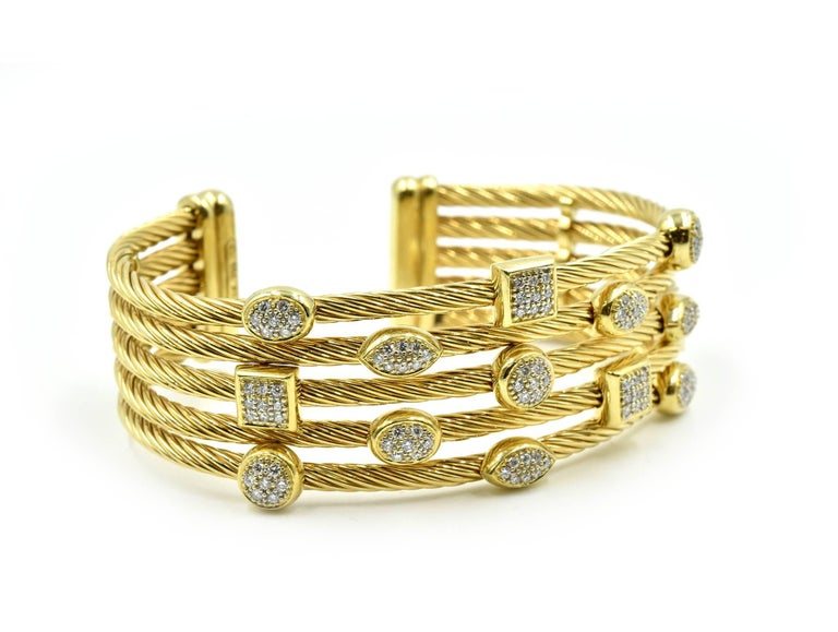 d1e10ff10 David Yurman Confetti Wide Cuff Bracelet with Pave Set Diamonds. Designer: David  Yurman Collection: Confetti Material: 18k yellow gold Diamonds: 100 round