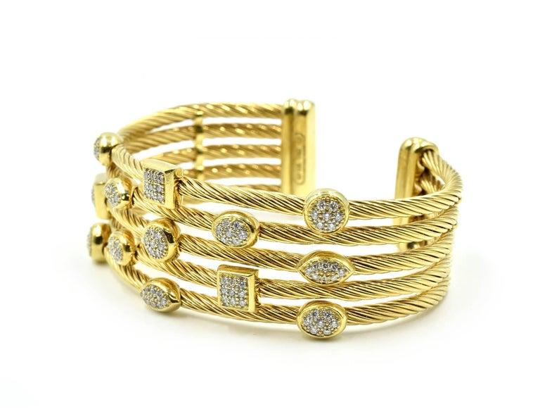 ab27b5b6c Round Cut David Yurman Confetti Wide Cuff Bracelet with Pave Set Diamonds