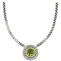 David Yurman Cookie Sterling Silver Round Cut Peridot Necklace