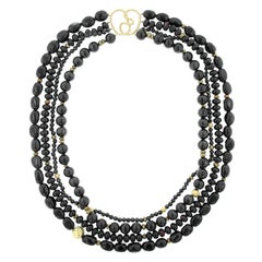 David Yurman Couture 18 Karat Yellow Gold Black Onyx and Obsidian Bead Necklace