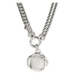 David Yurman Crossover Diamond Necklace in Sterling Silver 1.69 Carat