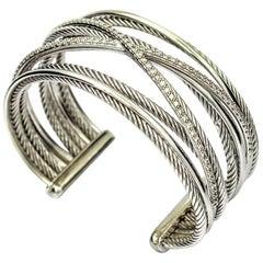 David Yurman Crossover Five-Row 14k Gold Sterling Silver Diamond Cuff Bracelet