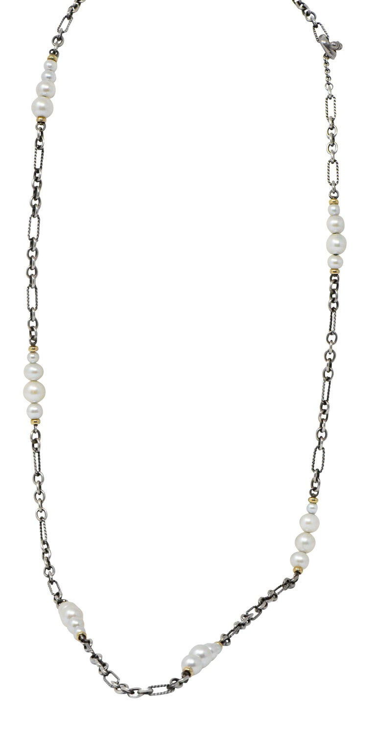 David Yurman Cultured Pearl Sterling Silver 18 Karat Gold