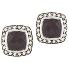 David Yurman Cushion Albion Pave Earrings with Rhodolite Garnet and Diamonds