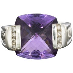 David Yurman Deco Sterling Silver Cushion Cut Amethyst and Diamond Cable Ring