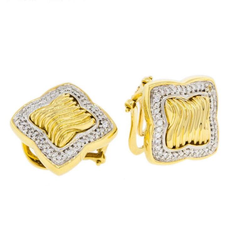 79ef09819ee60 David Yurman Diamond 18 Karat Yellow Gold Ladies Earrings
