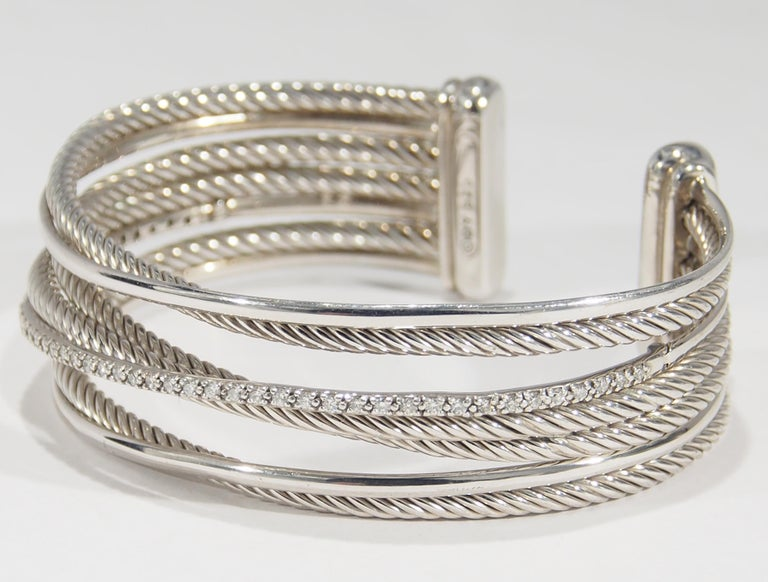 14eedbfe2615b David Yurman Diamond Bracelet Cuff Wire Rope Motif Sterling Silver